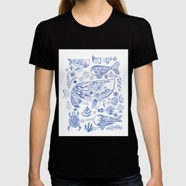 Cetacea in Blue and White T-shirt