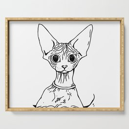 Big Eyed Pretty Wrinkly Kitty - Sphynx Cat Illustration - Nekkie - Cat Lover Gift Serving Tray