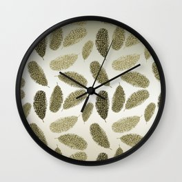 Gold Ombre Watercolor Feather Wall Clock