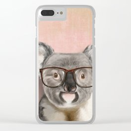 Funny koala with glasses Clear iPhone Case