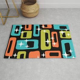 Retro Mid Century Modern Abstract Pattern 222 Orange Chartreuse Turquoise Rug