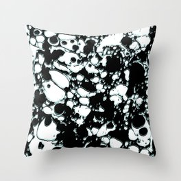 Black and White ink paint spill graphic mint green lines Throw Pillow