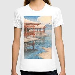 Kawase Hasui - Travel Souvenir Second Collection, Miyajima, Snow Of Fine Weather T-shirt