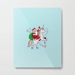 Santa Riding a unicorn Metal Print
