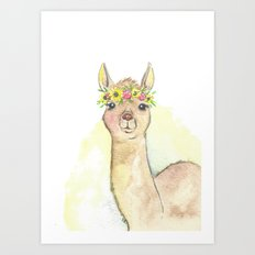 Llama Watercolor with Sunflower Crown Art Print