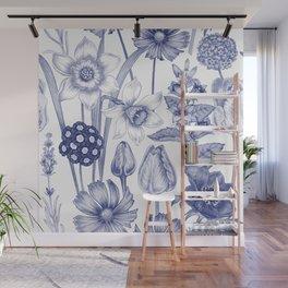 Flowers in Blue Wall Mural