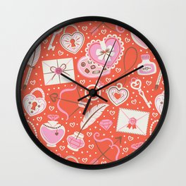 Valentine's Day Red Wall Clock
