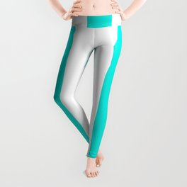 Bright turquoise - solid color - white vertical lines pattern Leggings