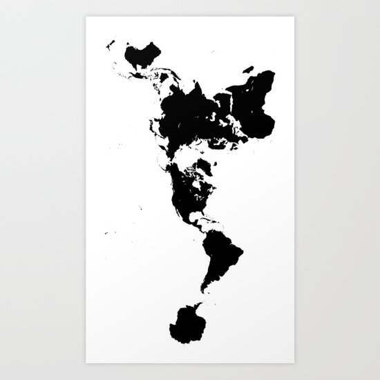 Dymaxion World Map (Fuller Projection Map) - Minimalist Black on White by constantchaos