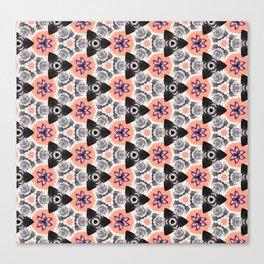 Handmade Pink and Black Kaleidoscope Pattern Canvas Print