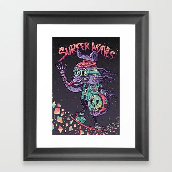 Surfer Wolves Framed Art Print