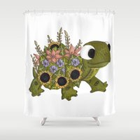 tortoise Shower Curtains featuring Floral Tortoise by Just Smile Designs