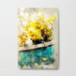 Abstract Blue and Yellow Lake Metal Print
