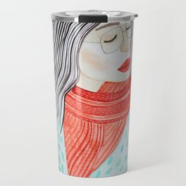 Beautiful lady with closed eyes in a red scarf wearing eyeglasses. Watercolor illustration. Travel Mug