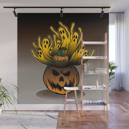 Classic character of ghost and pumpkin Wall Mural