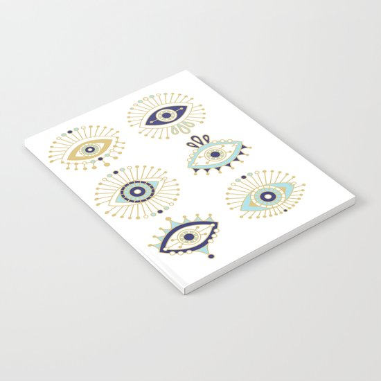 Evil Eye Collection on White Notebook