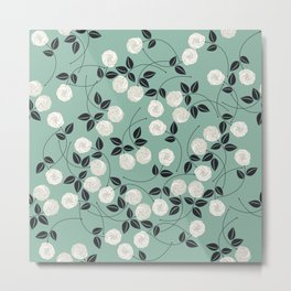 Pattern with white roses Metal Print