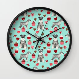 Schnauzer valentines day cupcakes love hearts schnauzers must have pure breed lovers Wall Clock