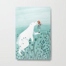 Polar bear and girl Metal Print
