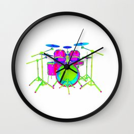 Colorful Drum Kit Wall Clock