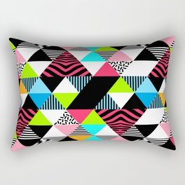 Vintage Retro 1980s 80s New Wave Neon Jams Triangular Pattern Rectangular Pillow