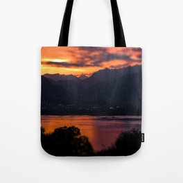 Locarno and Ascona at sunset Tote Bag