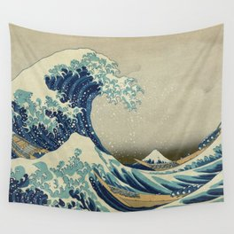 The Classic Japanese Great Wave off Kanagawa Print by Hokusai Wall Tapestry