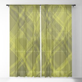 Curved yellow ribbons with a pattern of intersecting elegant stripes Sheer Curtain