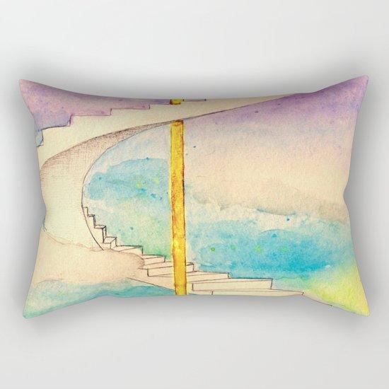 Fantasy Stairs Watercolor Rectangular Pillow