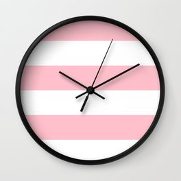 Wide Horizontal Stripes - White and Pink Wall Clock