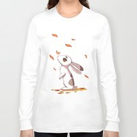 hare Long Sleeve T-shirts featuring Autumn Hare by Freeminds