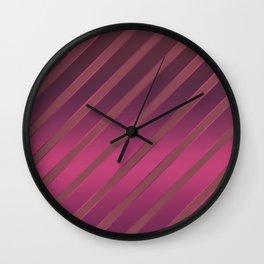 Slant red crimson stripes on a crimson satin background . Wall Clock