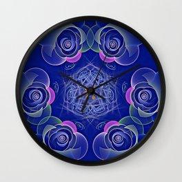 Blue Rosettes Fractal Wall Clock