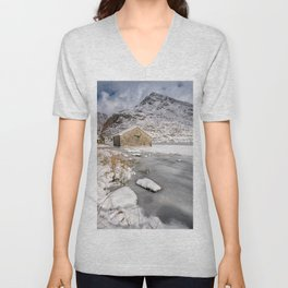 Frozen Lake Snowdonia Unisex V-Neck