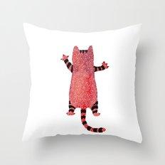 Red cat Throw Pillow