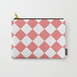 Large Diamonds - White and Coral Pink Carry-All Pouch