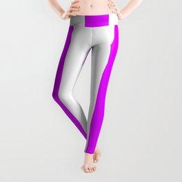 Phlox violet - solid color - white vertical lines pattern Leggings