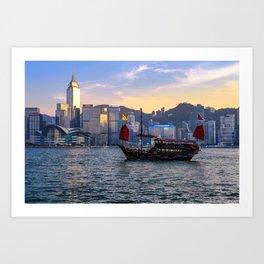 Hong Kong Harbor Boat Art Print