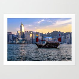 Hong Kong Harbor Boat Art Print