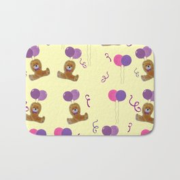 Teddy for girls with balloons Bath Mat