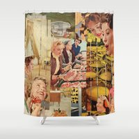 meat Shower Curtains featuring Meat Ladies by Katie Anderson Art
