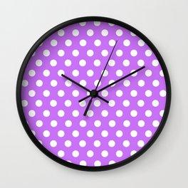 White Polka Dots on Purple Wall Clock