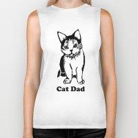 dad Biker Tanks featuring Cat Dad by Artist Abigail