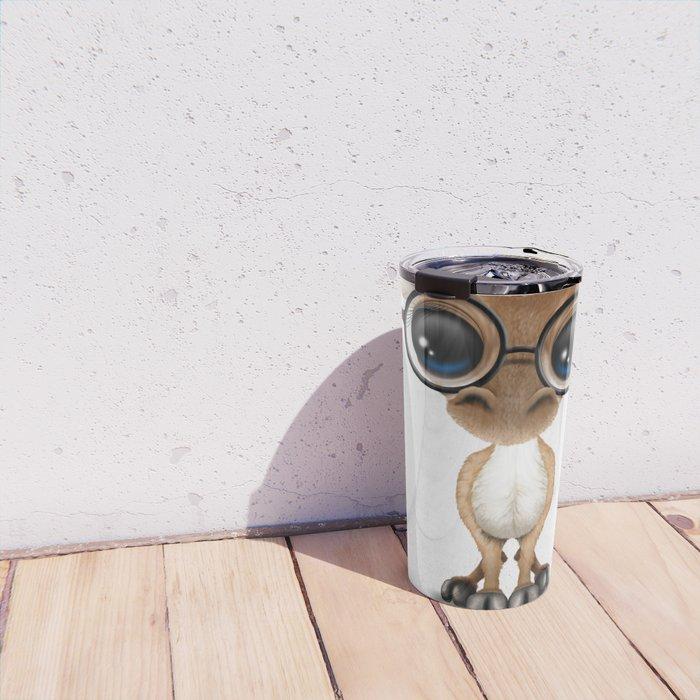 Cute Curious Nerdy Baby Deer Wearing Glasses Travel Mug