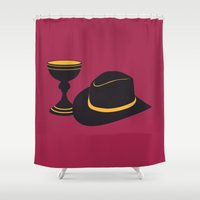 indiana jones Shower Curtains featuring Indiana Jones and the Last Crusade by FilmsQuiz