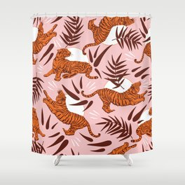 Vibrant Wilderness / Tigers on Pink Shower Curtain