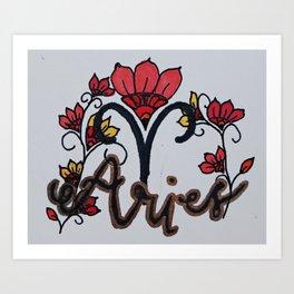 Aries Flora Art Print