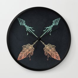 Arrows Turquoise Coral on Navy Wall Clock