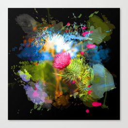Vibrant painted thistle on black Canvas Print