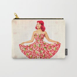 """""""Check Out These Melons"""" - The Playful Pinup - Girl in Watermelon Dress by Maxwell H. Johnson Carry-All Pouch"""